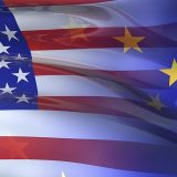 Very large 3D render of blended US and EU flags.