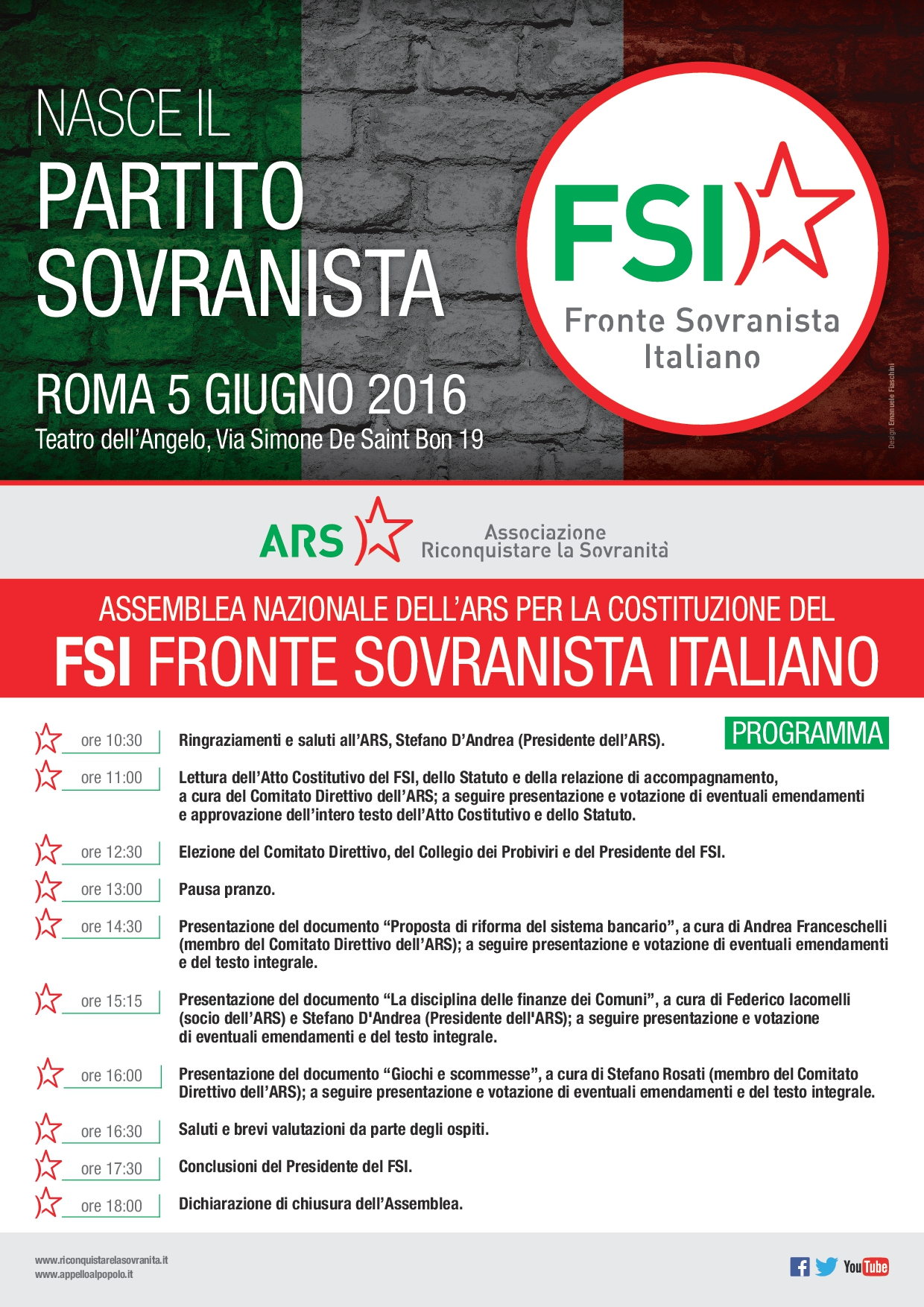 ARS FSI Assemblea Nazionale 5 Giugno Programma